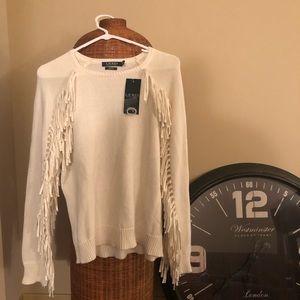 White fringe Ralph Lauren sweater